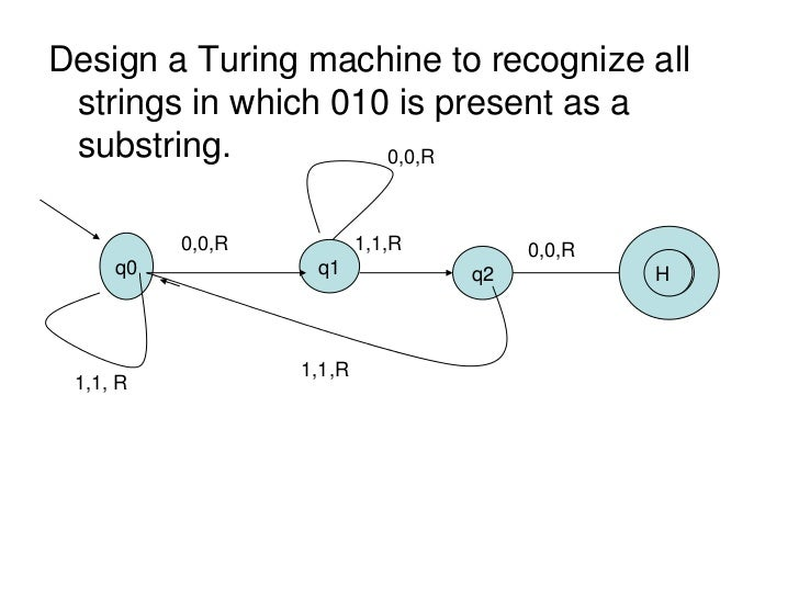 Design a Turing machine to recognize all strings in which 010 is present as a substring.          0,0,R          0,0,R    ...