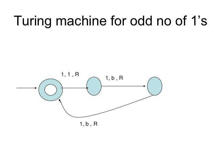 Turing machine for odd no of 1's       1, 1 , R                             1, b , R                  1, b , R