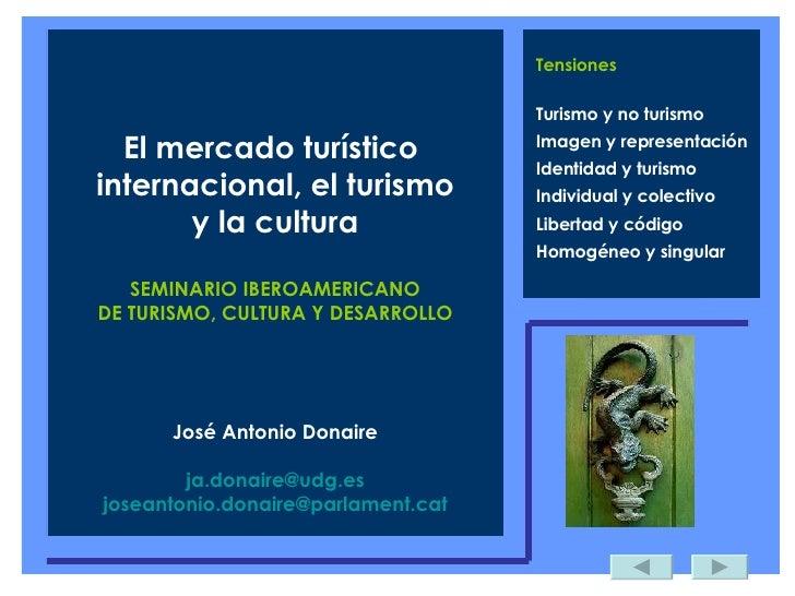 Tensiones Turismo y no turismo Imagen y representación Identidad y turismo Individual y colectivo Libertad y código Homogé...