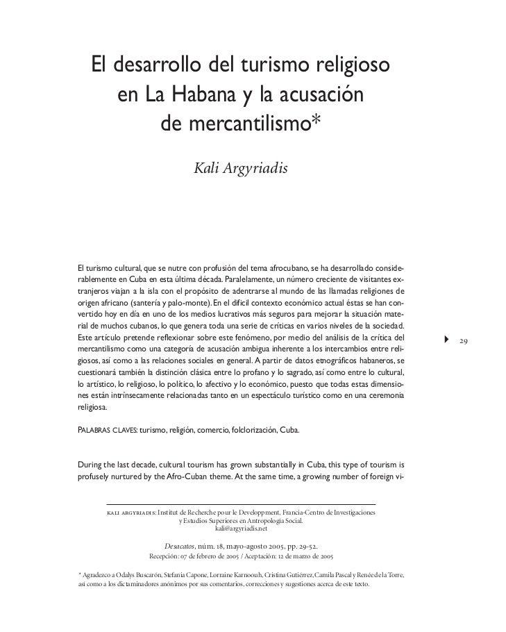 El desarrollo del turismo religioso       en La Habana y la acusación            de mercantilismo*                        ...