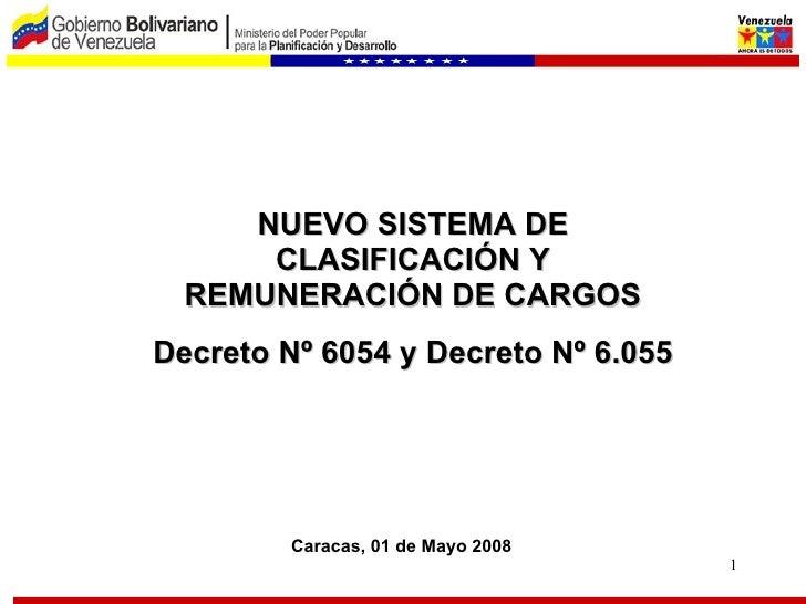 NUEVO SISTEMA DE CLASIFICACIÓN Y REMUNERACIÓN DE CARGOS Decreto Nº 6054 y Decreto Nº 6.055 Caracas, 01 de Mayo 2008