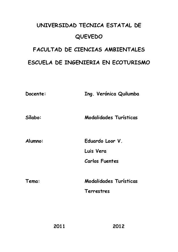 UNIVERSIDAD TECNICA ESTATAL DE                  QUEVEDO   FACULTAD DE CIENCIAS AMBIENTALES ESCUELA DE INGENIERIA EN ECOTUR...