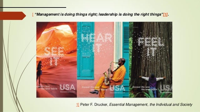 "1] Peter F. Drucker, Essential Management, the Individual and Society [ ""Management is doing things right; leadership is d..."