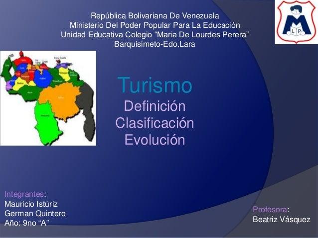 """República Bolivariana De Venezuela Ministerio Del Poder Popular Para La Educación Unidad Educativa Colegio """"Maria De Lourd..."""