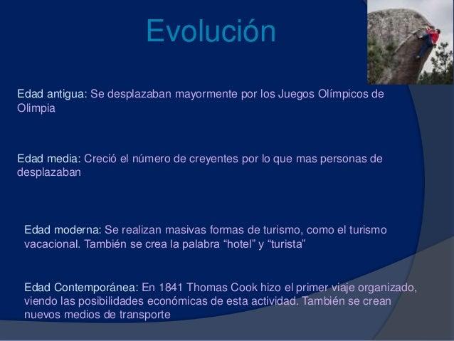 Evolución Edad antigua: Se desplazaban mayormente por los Juegos Olímpicos de Olimpia Edad media: Creció el número de crey...