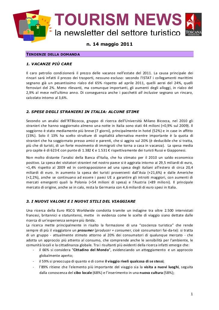 TOURISM NEWS                  la newsletter del settore turistico                                      n. 14 maggio 2011TE...