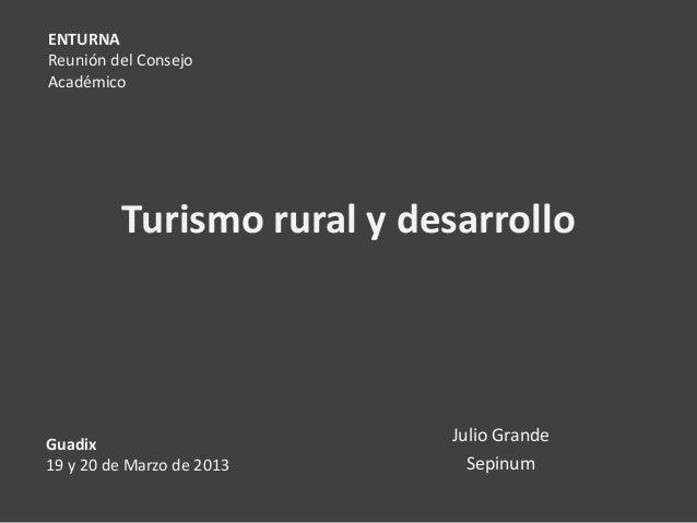 ENTURNAReunión del ConsejoAcadémico         Turismo rural y desarrolloGuadix                     Julio Grande19 y 20 de Ma...