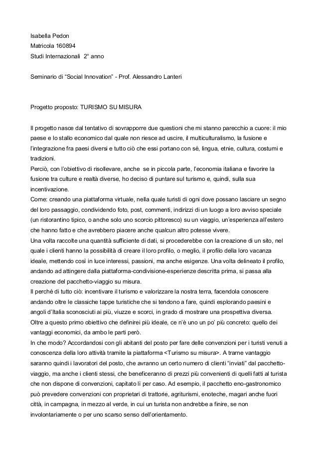 """Isabella Pedon Matricola 160894 Studi Internazionali 2° anno Seminario di """"Social Innovation"""" - Prof. Alessandro Lanteri  ..."""