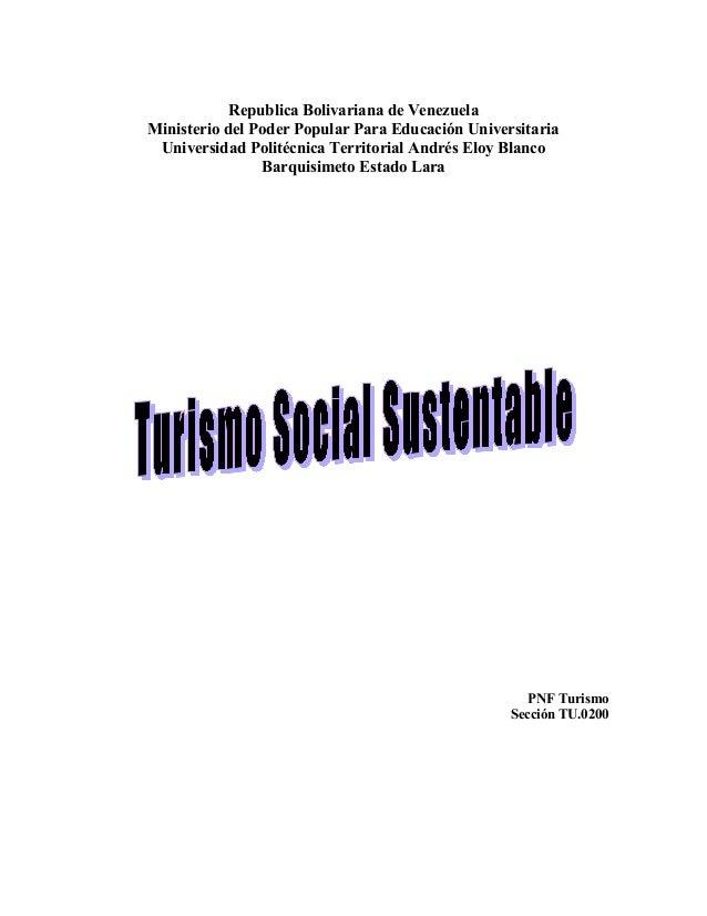 Republica Bolivariana de VenezuelaMinisterio del Poder Popular Para Educación Universitaria Universidad Politécnica Territ...