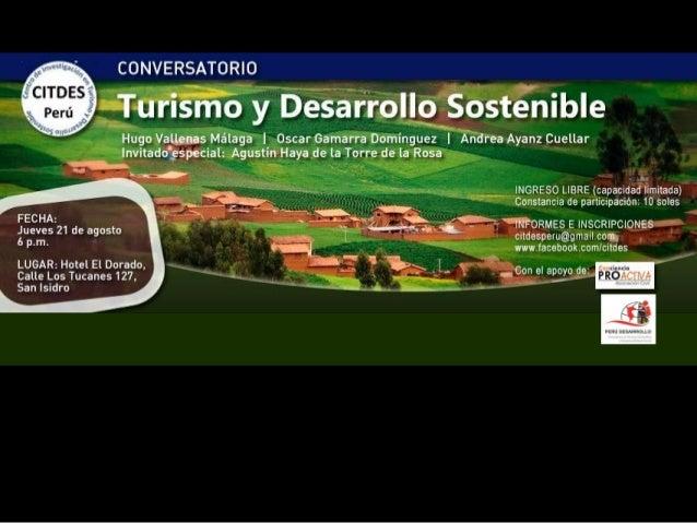 Desarrollo sostenible y Turismo en el Péru