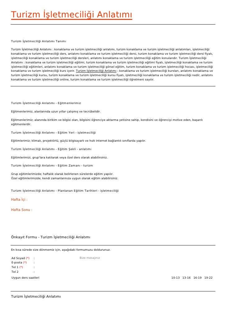 Turizm İşletmeciliği AnlatımıTurizm İşletmeciliği Anlatımı TanımıTurizm İşletmeciliği Anlatımı : konaklama ve turizm işlet...
