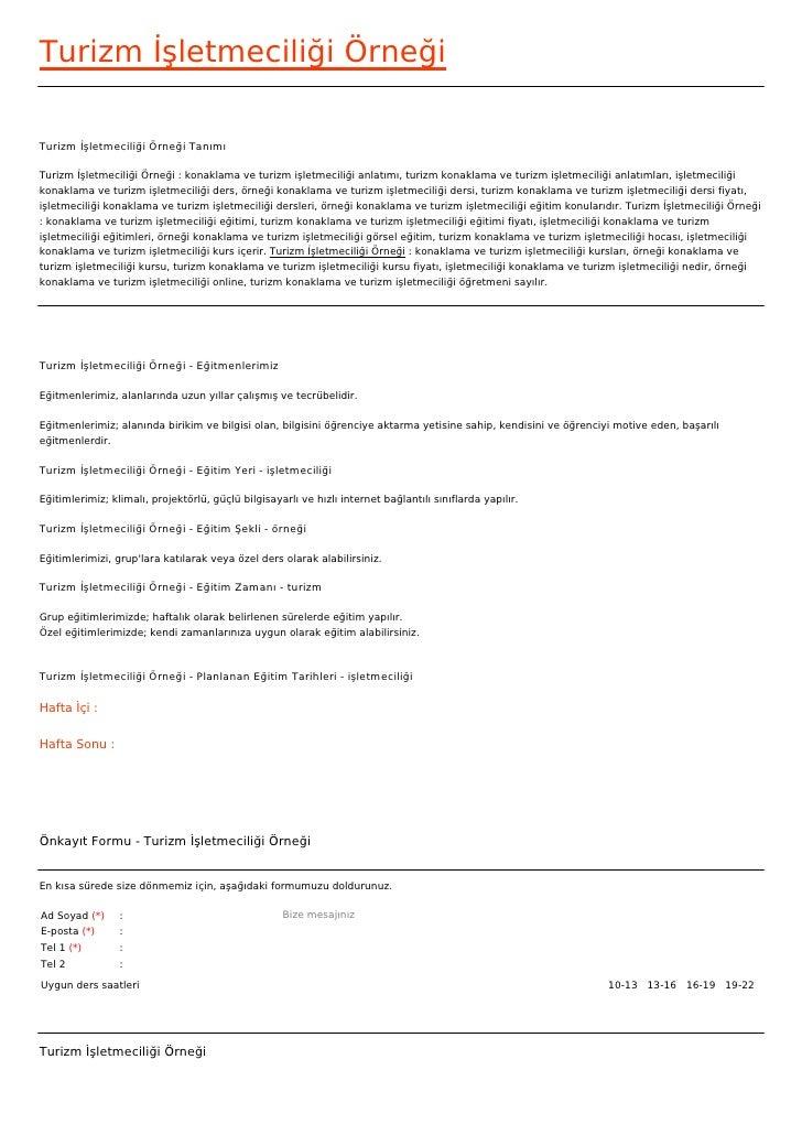 Turizm İşletmeciliği ÖrneğiTurizm İşletmeciliği Örneği TanımıTurizm İşletmeciliği Örneği : konaklama ve turizm işletmecili...