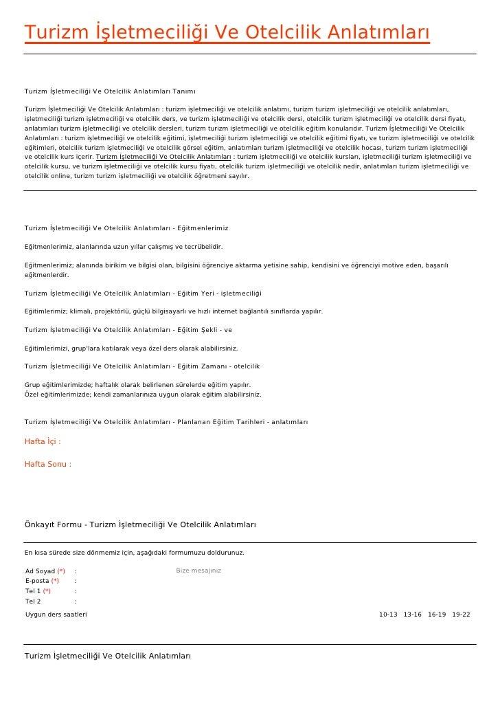 Turizm İşletmeciliği Ve Otelcilik AnlatımlarıTurizm İşletmeciliği Ve Otelcilik Anlatımları TanımıTurizm İşletmeciliği Ve O...