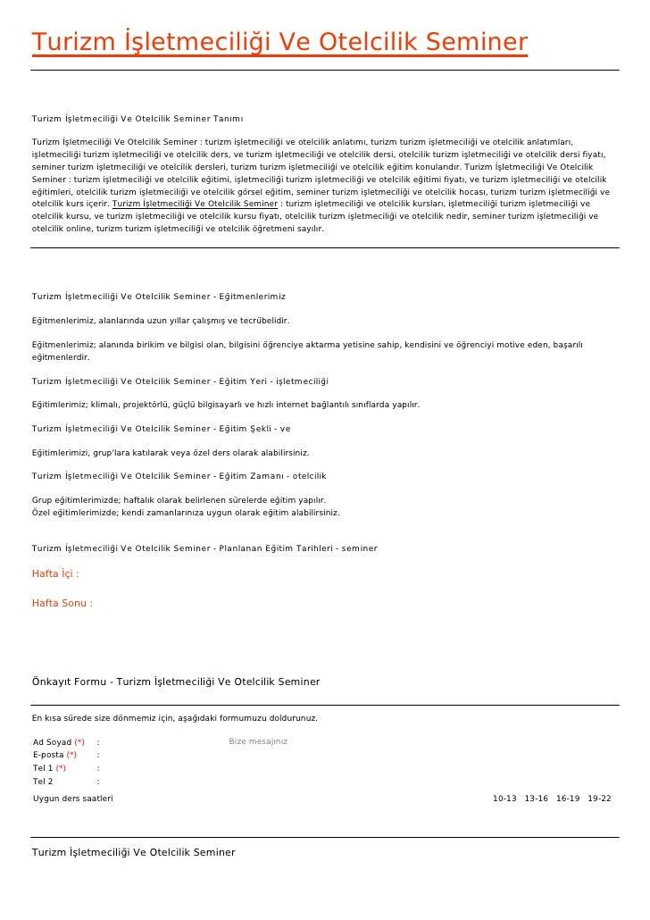 Turizm İşletmeciliği Ve Otelcilik SeminerTurizm İşletmeciliği Ve Otelcilik Seminer TanımıTurizm İşletmeciliği Ve Otelcilik...