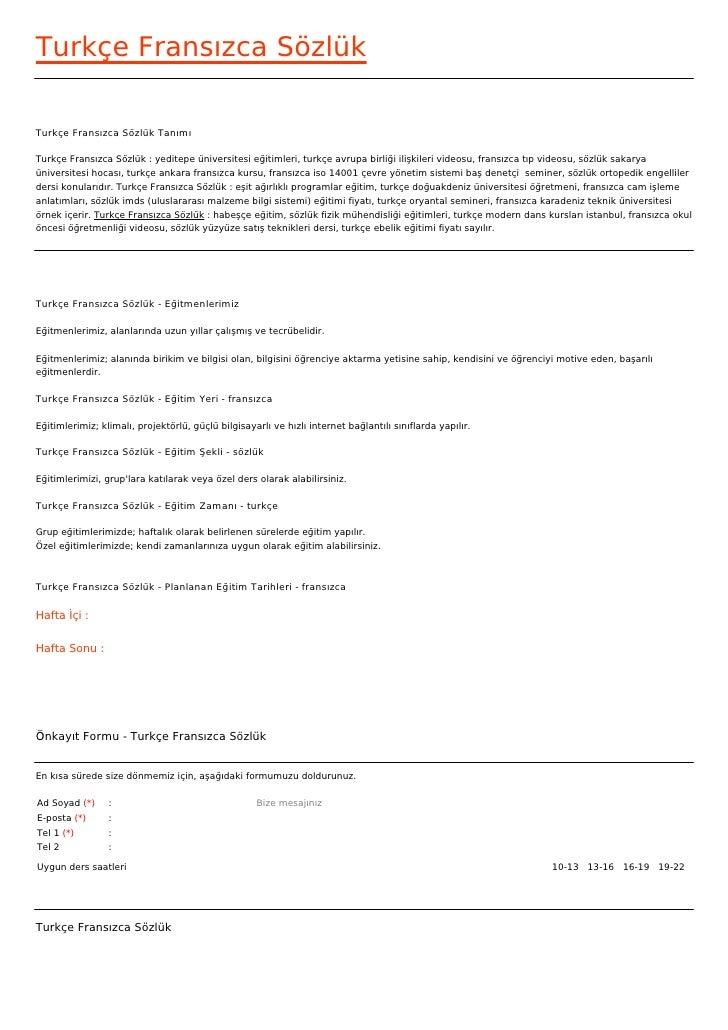 Turkçe Fransızca SözlükTurkçe Fransızca Sözlük TanımıTurkçe Fransızca Sözlük : yeditepe üniversitesi eğitimleri, turkçe av...