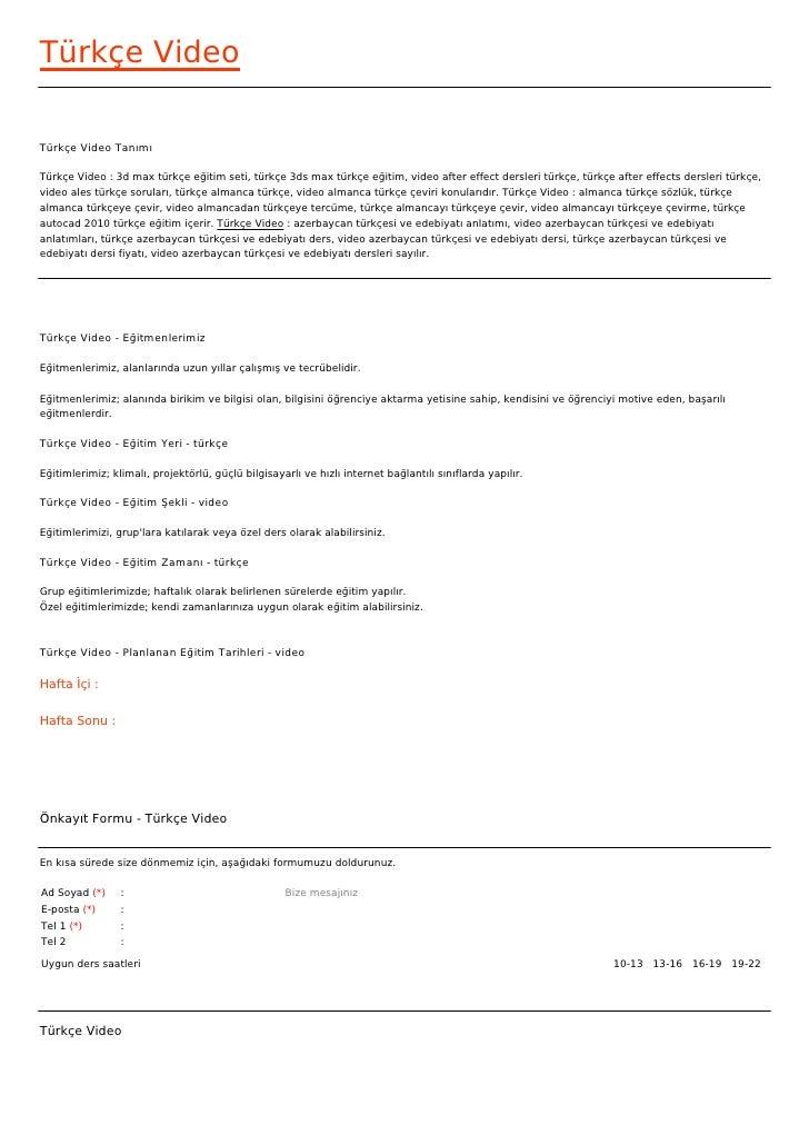 Türkçe VideoTürkçe Video TanımıTürkçe Video : 3d max türkçe eğitim seti, türkçe 3ds max türkçe eğitim, video after effect ...