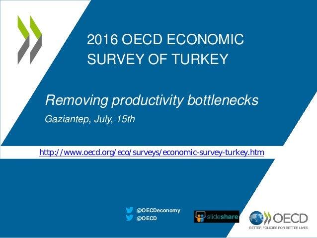 2016 OECD ECONOMIC SURVEY OF TURKEY Removing productivity bottlenecks Gaziantep, July, 15th @OECD @OECDeconomy http://www....