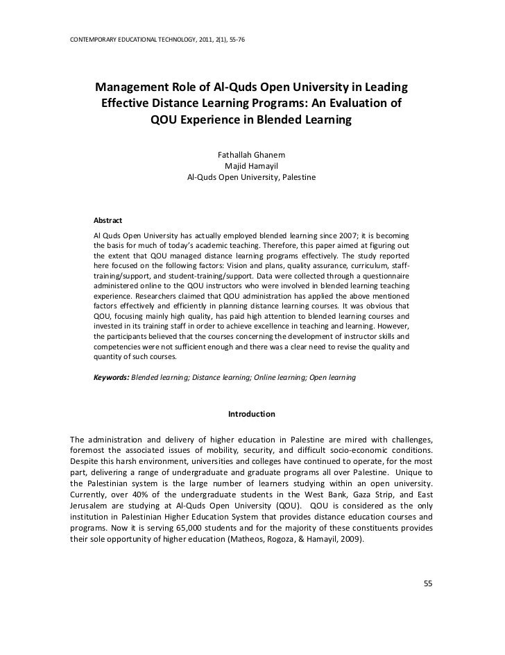 CONTEMPORARY EDUCATIONAL TECHNOLOGY, 2011, 2(1), 55-76       Management Role of Al-Quds Open University in Leading        ...
