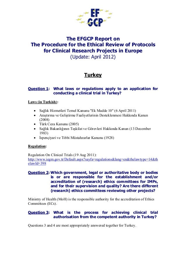 The EFGCP Report on The Procedure for the Ethical Review of Protocols for Clinical Research Projects in Europe (Update: Ap...