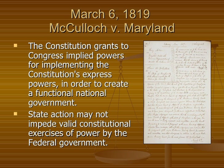 case brief mcculloch v maryland In the case now to be determined, the defendant, a sovereign state, denies the obligation of a law enacted by the legislature of the union, and the plaintiff, on his part, contests the validity of an act which has been passed by the legislature of.
