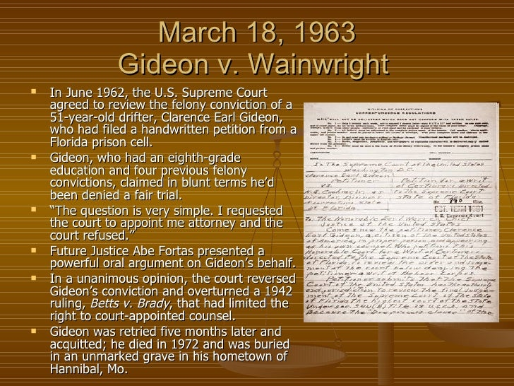 gideon v wainwright essay questions Summary founding principles case background key question directions  materials handouts resources  gideon v wainwright (1963) case  background and primary source documents concerning the supreme court case  of gideon v.