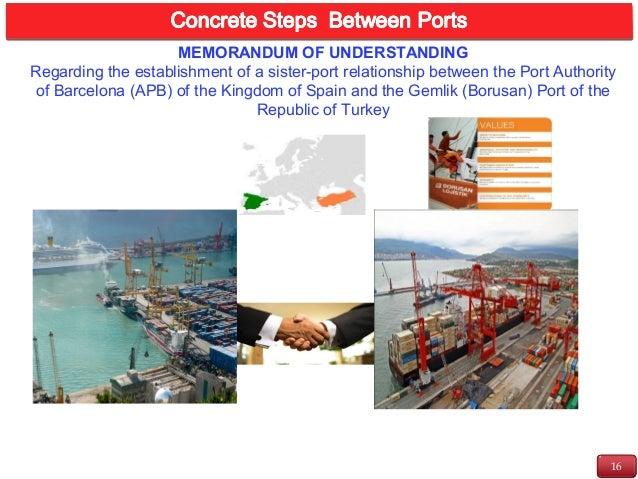 16 INTRODUCTION MEMORANDUM OF UNDERSTANDING Regarding the establishment of a sister-port relationship between the Port Aut...
