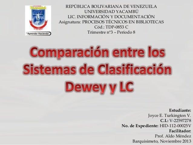 REPÚBLICA BOLIVARIANA DE VENEZUELA UNIVERSIDAD YACAMBÚ LIC. INFORMACIÓN Y DOCUMENTACIÓN Asignatura: PROCESOS TÉCNICOS EN B...