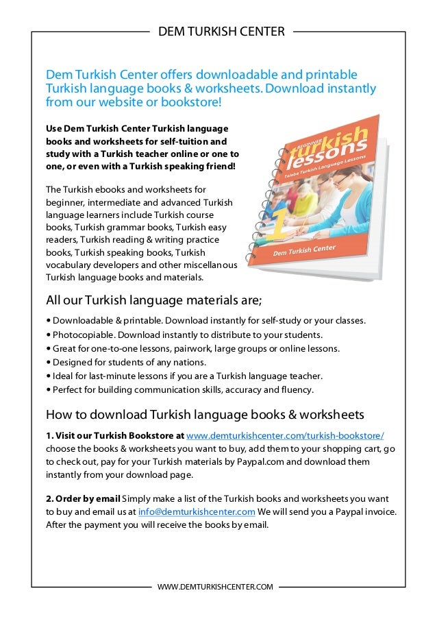 Turkish language books and worksheets