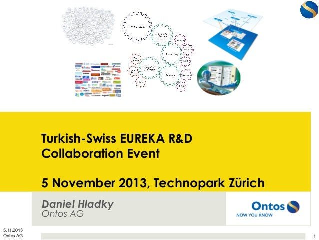 Turkish-Swiss EUREKA R&D Collaboration Event 5 November 2013, Technopark Zürich Daniel Hladky Ontos AG 5.11.2013 Ontos AG ...