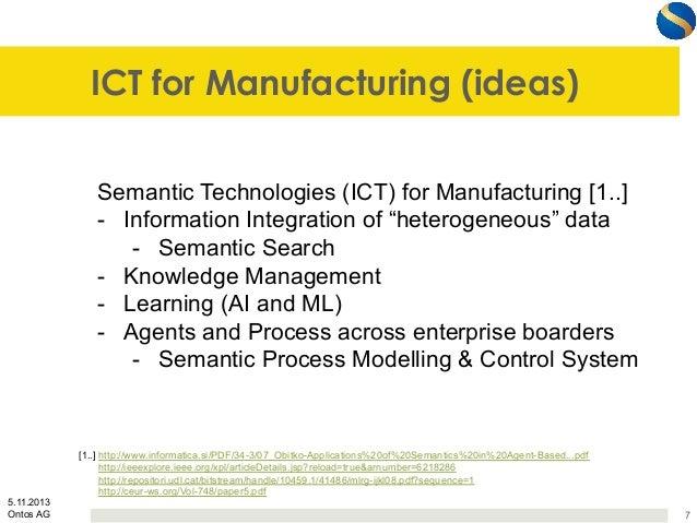 "ICT for Manufacturing (ideas) Semantic Technologies (ICT) for Manufacturing [1..] - Information Integration of ""heterogen..."