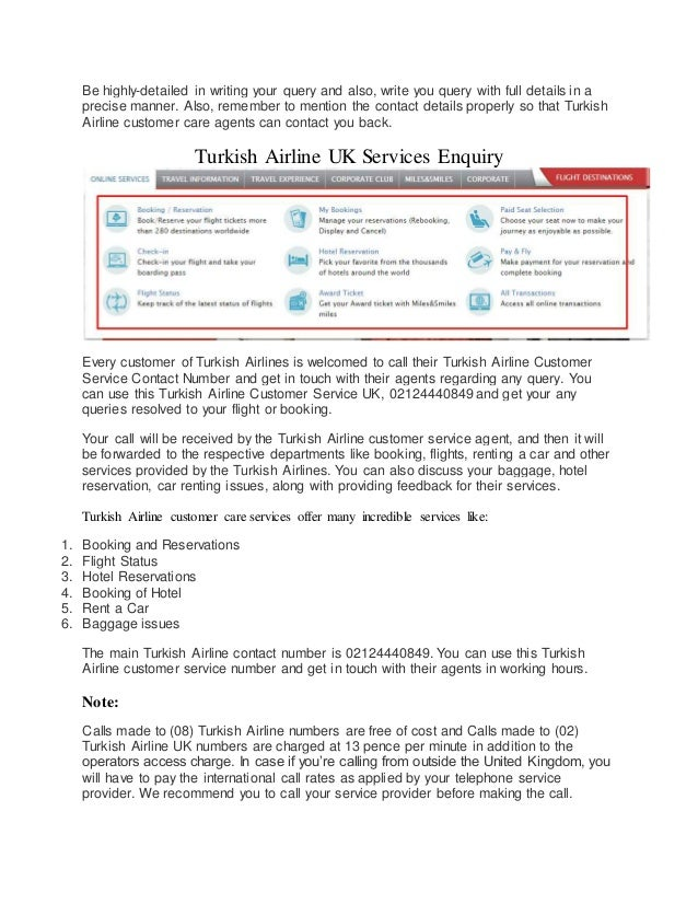 Turkish Airline Customer Service Numbers UK