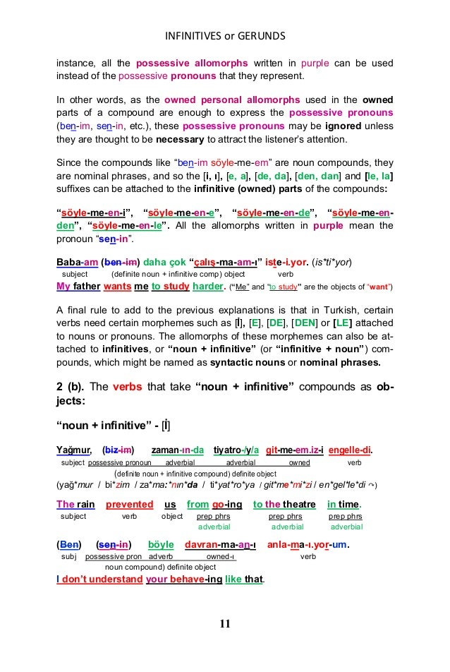 INFINITIVES or GERUNDS 11 instance, all the possessive allomorphs written in purple can be used instead of the possessive ...