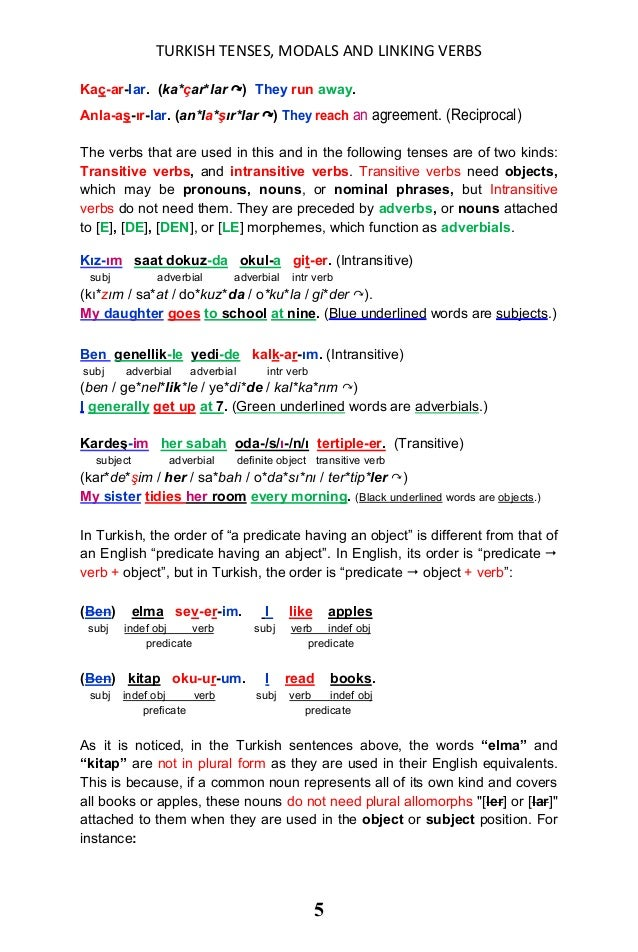 Turkish Tenses Modals Linking Verbs And Their English
