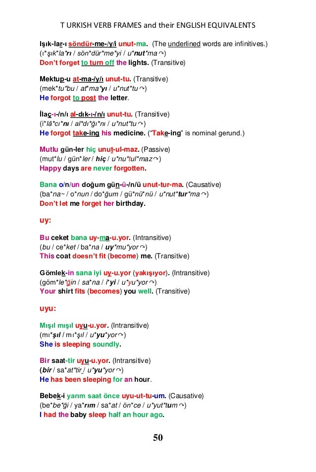 Turkish verb frames and their english equivalents in sentences for Terrace in a sentence