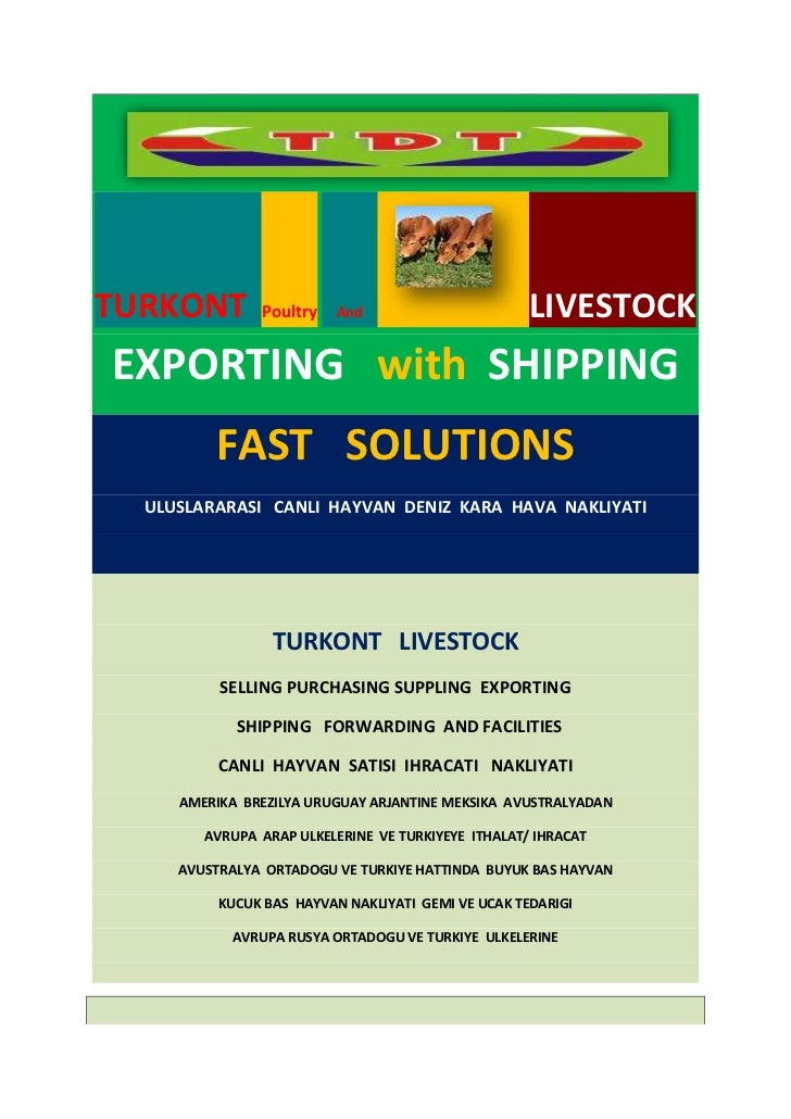 TURKONT        Poultry And                          LIVESTOCKEXPORTING with SHIPPING         FAST SOLUTIONS  ULUSLARARASI ...
