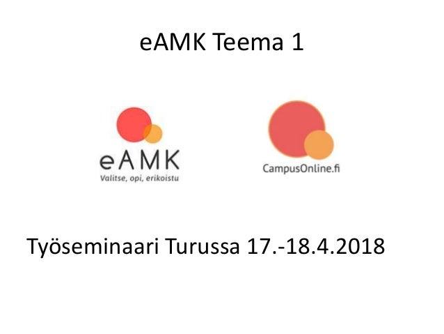 eAMK Teema 1 Työseminaari Turussa 17.-18.4.2018