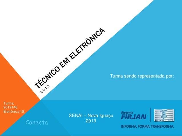 Turma sendo representada por:  Turma 2012146 Eletrônica 10  Conecta  SENAI – Nova Iguaçu 2013