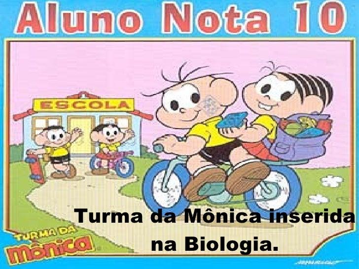 Turma da Mônica inserida na Biologia.
