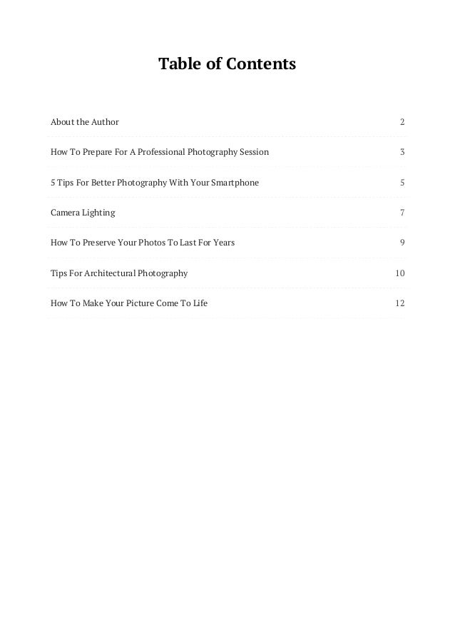 2 3 5 7 9 10 12 Table of Contents About the Author How To Prepare For A Professional Photography Session 5 Tips For Better...