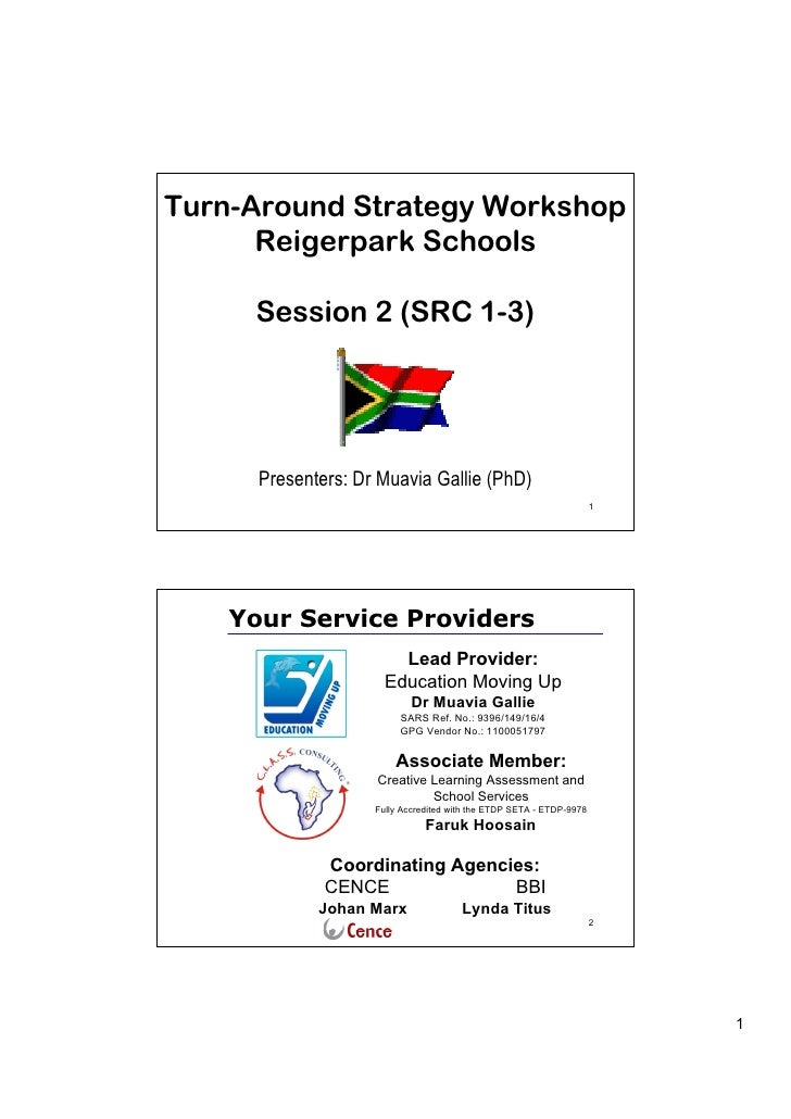 Turn-Around Strategy Workshop      Reigerpark Schools     Session 2 (SRC 1-3)      Presenters: Dr Muavia Gallie (PhD)     ...