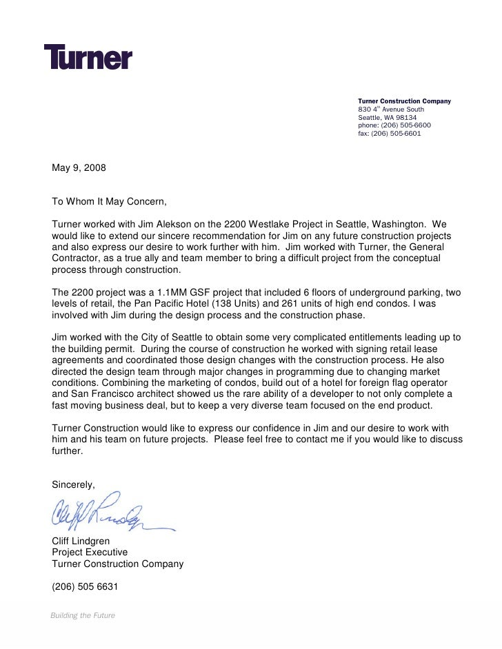 Turner Construction Letter Of Recommendation