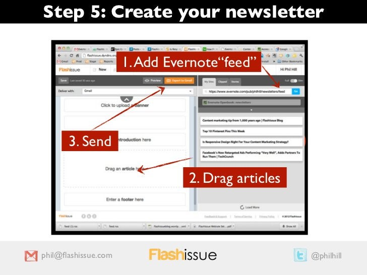 """Step 5: Create your newsletter                     1. Add Evernote""""feed""""                                    1             ..."""