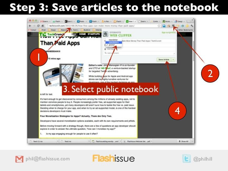 Step 3: Save articles to the notebook      1                                                       2                 3. Se...