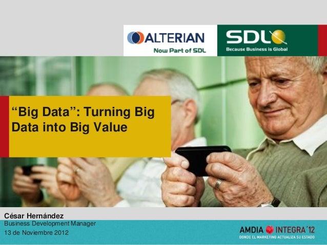 """Big Data"": Turning Big  Data into Big ValueCésar HernándezBusiness Development Manager13 de Noviembre 2012               ..."