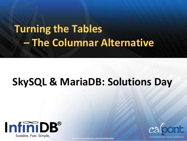 Turning the Tables– The Columnar AlternativeSkySQL & MariaDB: Solutions DayCalpont Proprietary and Confidential®