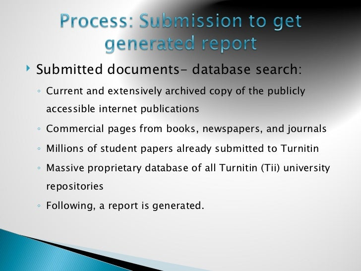 search turnitin database