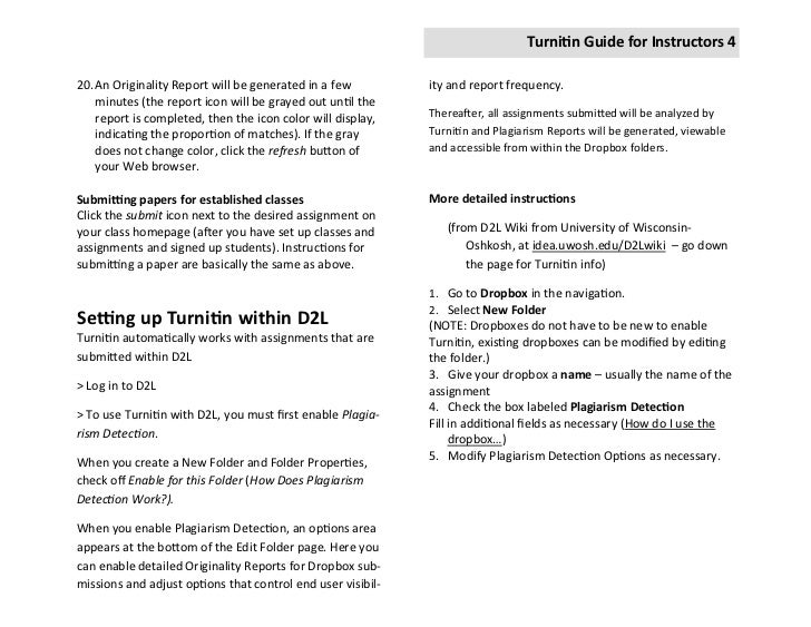 Turnitin Guide For Instructors: Web and D2L