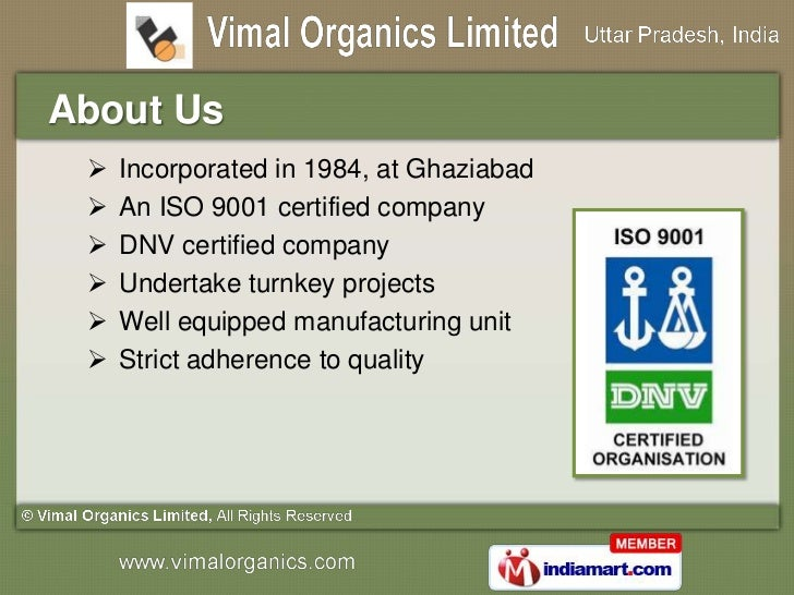 Turnkey Projects for Plants & Equipments by Vimal Organics Limited, Ghaziabad Slide 2