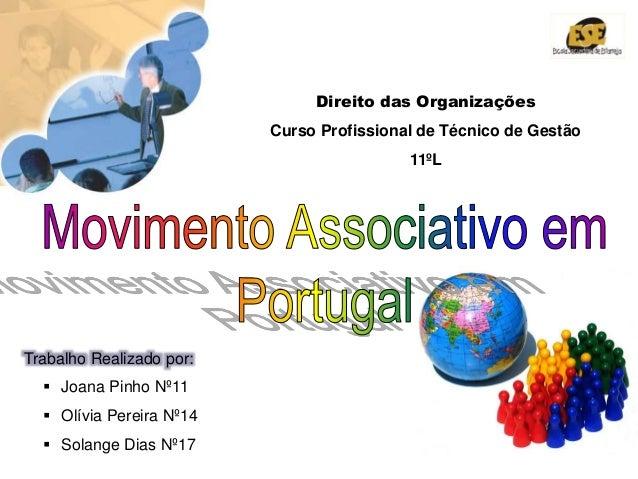 A Dinâmica do Associativismo Social - Trabalho de Grupo Direito das Organizações Curso Profissional de Técnico de Gestão 1...