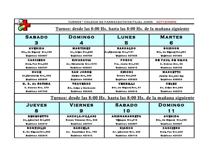 TURNOS * COLEGIO DE FARMACEUTICOS FILIAL JUNIN        SEPTIEMBRE                         Turnos: desde las 8:00 Hs. hasta ...